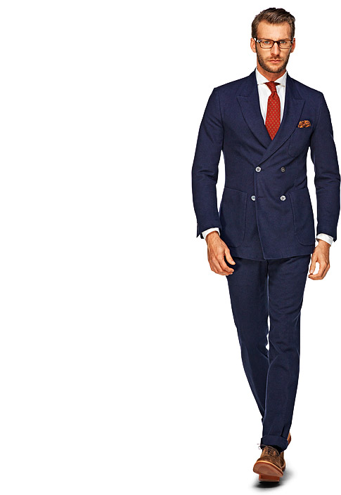 Blue double breast boston suit