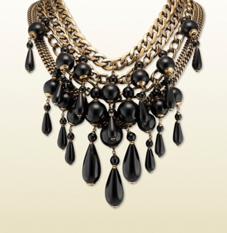 Gucci Multi-chain necklace with black pendents