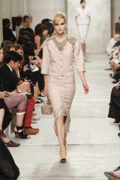 CHANEL resort 2014 Singapore - Beige jacket and skirt