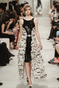 CHANEL resort 2014 Singapore - black and white feather ruffle dress Ii