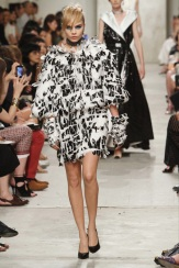 CHANEL resort 2014 Singapore - black and white feather ruffle dress
