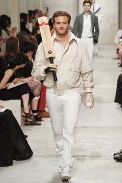 CHANEL resort 2014 Singapore - Men Beige and white pants and top, Baseball