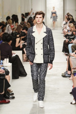 CHANEL resort 2014 Singapore - men jacket and pants grey and white