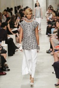 CHANEL resort 2014 Singapore - white and black top, white pants