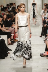 CHANEL resort 2014 Singapore - whitw dress with black ruffles