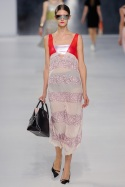 Dior Cruise 2014 - peach dress with red leather