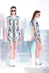 Just Cavalli Resort 2014 - Printed white and blue dress