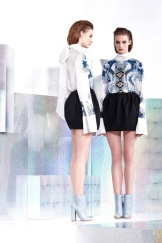 Just Cavalli Resort 2014 - White and blue printed top