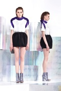 Just Cavalli Resort 2014 - White and purple top with black skirt