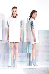Just Cavalli Resort 2014 - White dress with printed sleeves