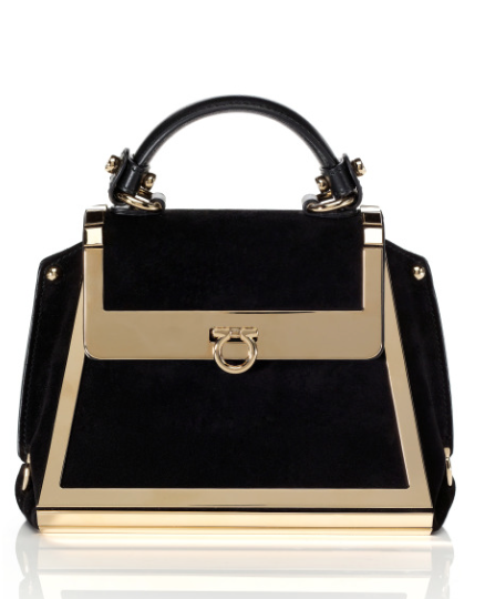 Salvatore Ferragamo black bag and gold metal