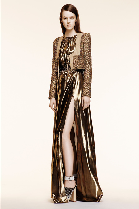 Altuzarra Resort 2014 - metallic gold dress and jacket
