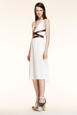 Altuzarra Resort 2014 - White dress with brown leather