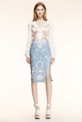 Altuzarra Resort 2014 - White top and paisley blue skirt