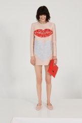 Stella McCartney Resort 2014 - Peach longsleeved dress with lip and heart