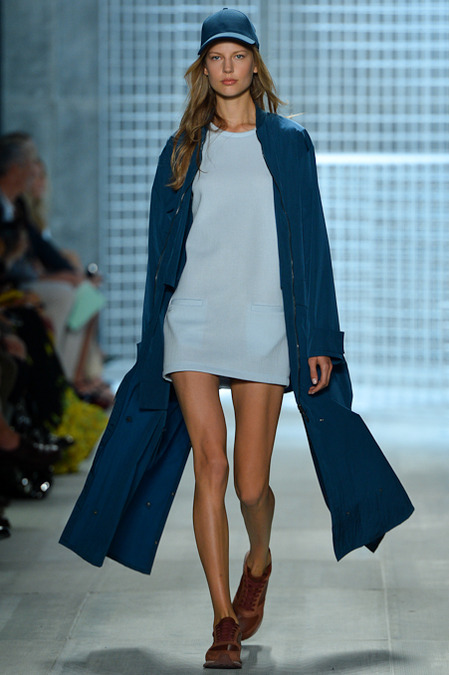 Lacoste Spring 2014 - Women baby blue dress and navy blue jacket