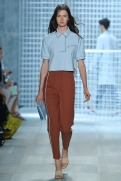 Lacoste Spring 2014 - Women baby blue polo and brown pants