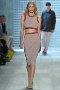 Lacoste Spring 2014 - Women beige and brown crop top and skirt