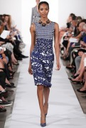 Oscar de la Renta Spring 2014 - Print black white and blue dress