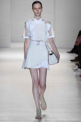 Victoria Beckham Spring 2014- see through top and white skirt