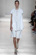 Victoria Beckham Spring 2014- White jacket, top, and shorts