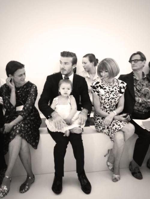 Victoria, Harper, and David Beckham with Anna Wintour